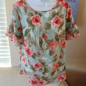 Spring/Summer Blouse Ruffle Sleeves Sz S